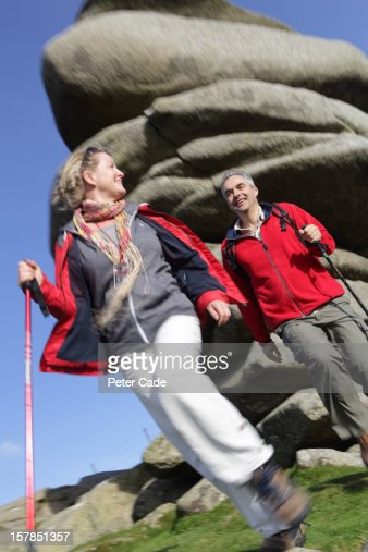 Older couple out hiking : Stock Photo