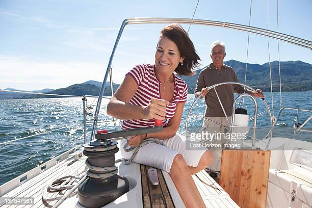 Older couple sailing together