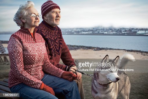 Older couple walking dog on beach : Stock Photo
