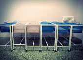 Old-fashioned baby cots at a maternity ward.