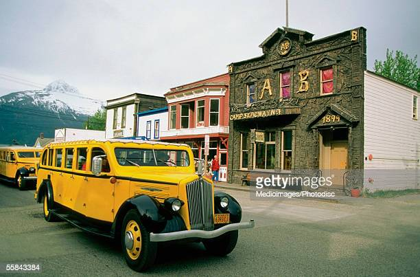 Old-fashioned cars parked on the road, Klondike Gold Rush National Historic Park, Skagway, Alaska, USA