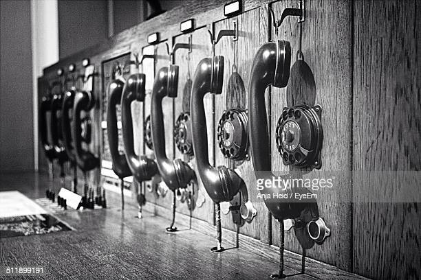 Old-fashioned wooden telephone switchboard