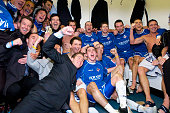 Oldham Athetic celebrate their win aginst Manchester City during the FA Cup third round match between Oldham Athletic and Manchester City at Boundary...