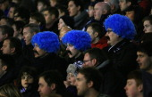 Oldham fans look on during the FA Cup with Budweiser Fifth Round match between Oldham Athletic and Everton at Boundary Park on February 16 2013 in...