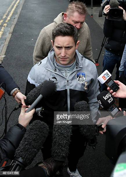 Oldham Manager Lee Johnson speaks to the media at Oldham Athletic's Boundary Park ground on January 5 2015 in Oldham England
