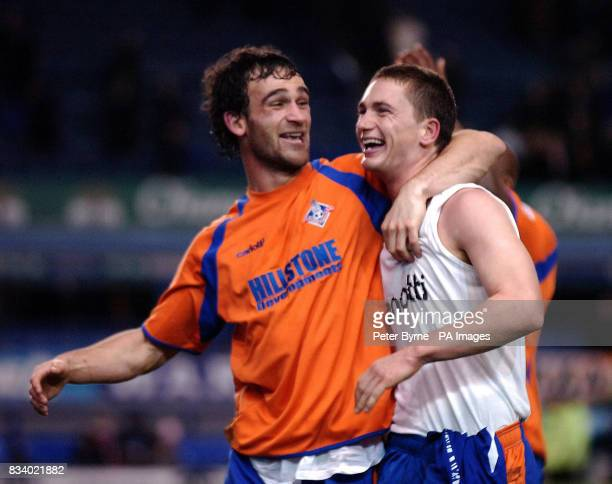 Oldham's Gary McDonald celebrates with Stefan Stam during the FA Cup third round match at Goodison Park Liverpool