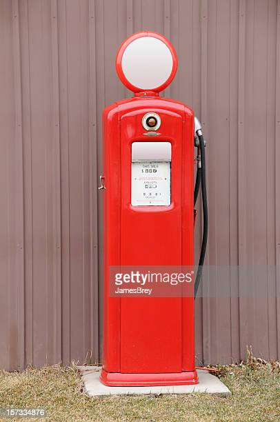 Old-Style Retro Antique Red Gas Petroleum Fuel Pump, Outdoors, Isolated