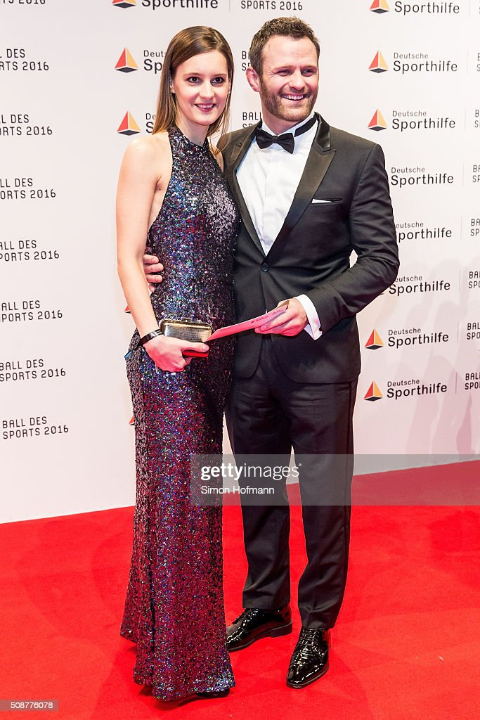 Ole Bischof and his wife Ina attend German Sports Gala 'Ball des Sports 2016' on February 6, 2016 in Wiesbaden, Germany.