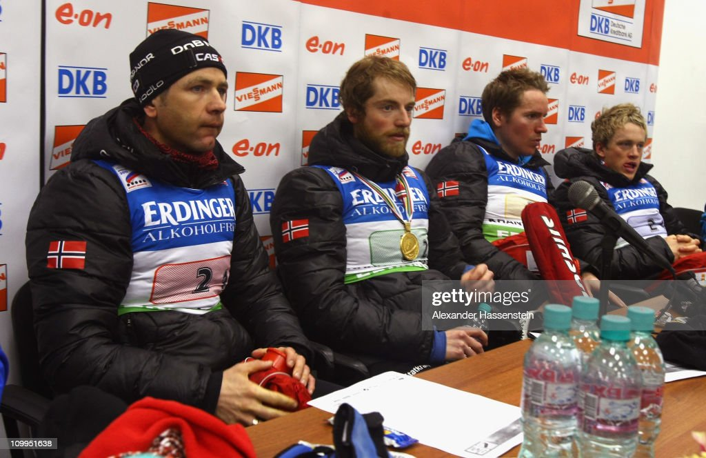 <a gi-track='captionPersonalityLinkClicked' href=/galleries/search?phrase=Ole+Einar+Bjoerndalen&family=editorial&specificpeople=206663 ng-click='$event.stopPropagation()'>Ole Einar Bjoerndalen</a> (L) of Norway announces at a press conference that he and his team mates Alexander Os (2nd L), <a gi-track='captionPersonalityLinkClicked' href=/galleries/search?phrase=Emil+Hegle+Svendsen&family=editorial&specificpeople=831528 ng-click='$event.stopPropagation()'>Emil Hegle Svendsen</a> (3rd L) and <a gi-track='captionPersonalityLinkClicked' href=/galleries/search?phrase=Tarjei+Boe&family=editorial&specificpeople=6614833 ng-click='$event.stopPropagation()'>Tarjei Boe</a> (R) will donate their 10000 Euro winning price money for the gold medal at the men's relay for victims of the Japan tsunami during the IBU Biathlon World Championships at A.V. Philipenko winter sports centre on March 11, 2011 in Khanty-Mansiysk, Russia.