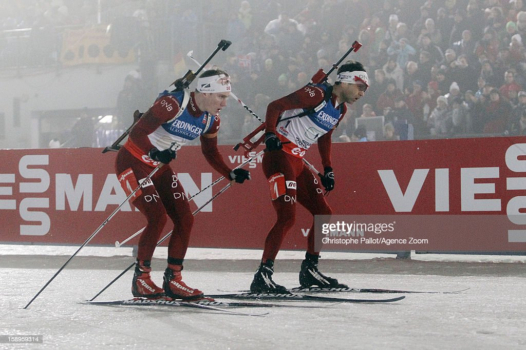 Ole Einar Bjoerndalen of Norway, Bjoentegaard Erlend of Norway takes 2nd place competes during the IBU Biathlon World Cup Men's Relay on January 04, 2013 in Oberhof, Germany.