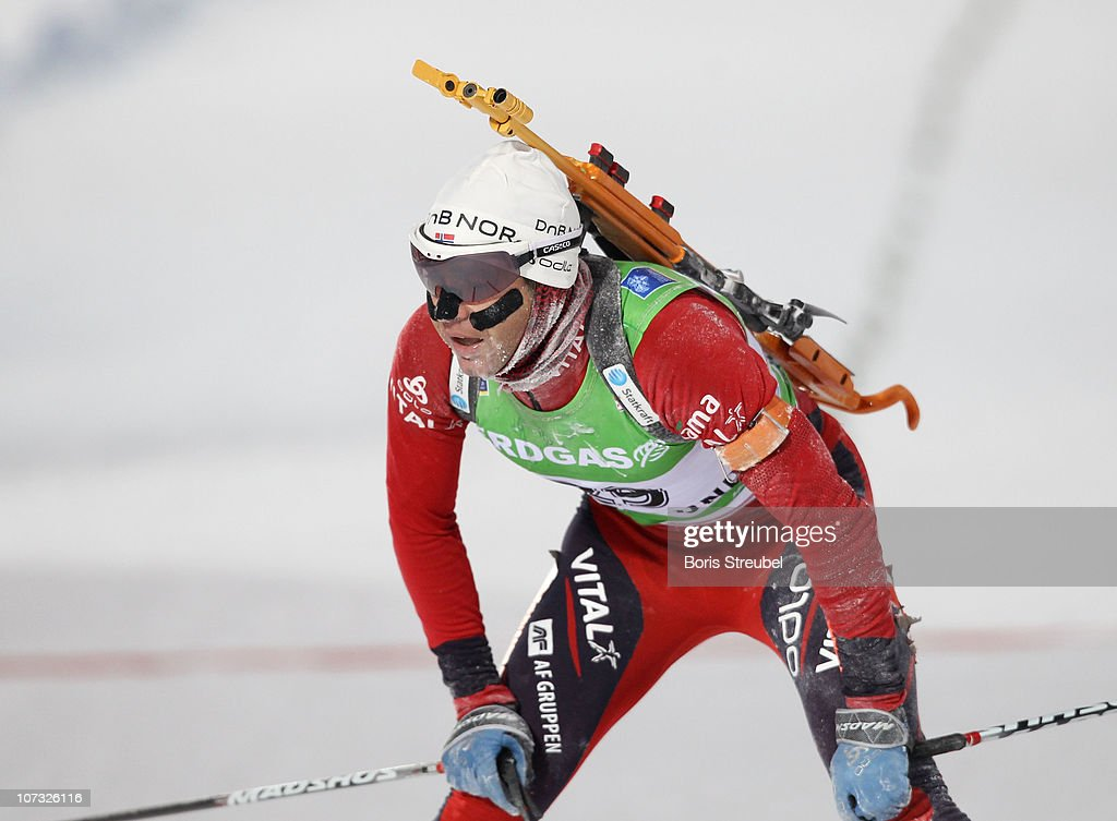 <a gi-track='captionPersonalityLinkClicked' href=/galleries/search?phrase=Ole+Einar+Bjoerndalen&family=editorial&specificpeople=206663 ng-click='$event.stopPropagation()'>Ole Einar Bjoerndalen</a> of Norway competes in the men's 10 km Sprint during the IBU Biathlon World Cup on December 4, 2010 in Ostersund, Sweden.
