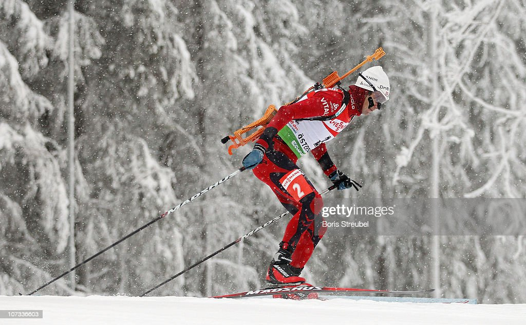 <a gi-track='captionPersonalityLinkClicked' href=/galleries/search?phrase=Ole+Einar+Bjoerndalen&family=editorial&specificpeople=206663 ng-click='$event.stopPropagation()'>Ole Einar Bjoerndalen</a> of Norway competes in the men's 12,5 km Persuit during the IBU Biathlon World Cup on December 5, 2010 in Ostersund, Sweden.