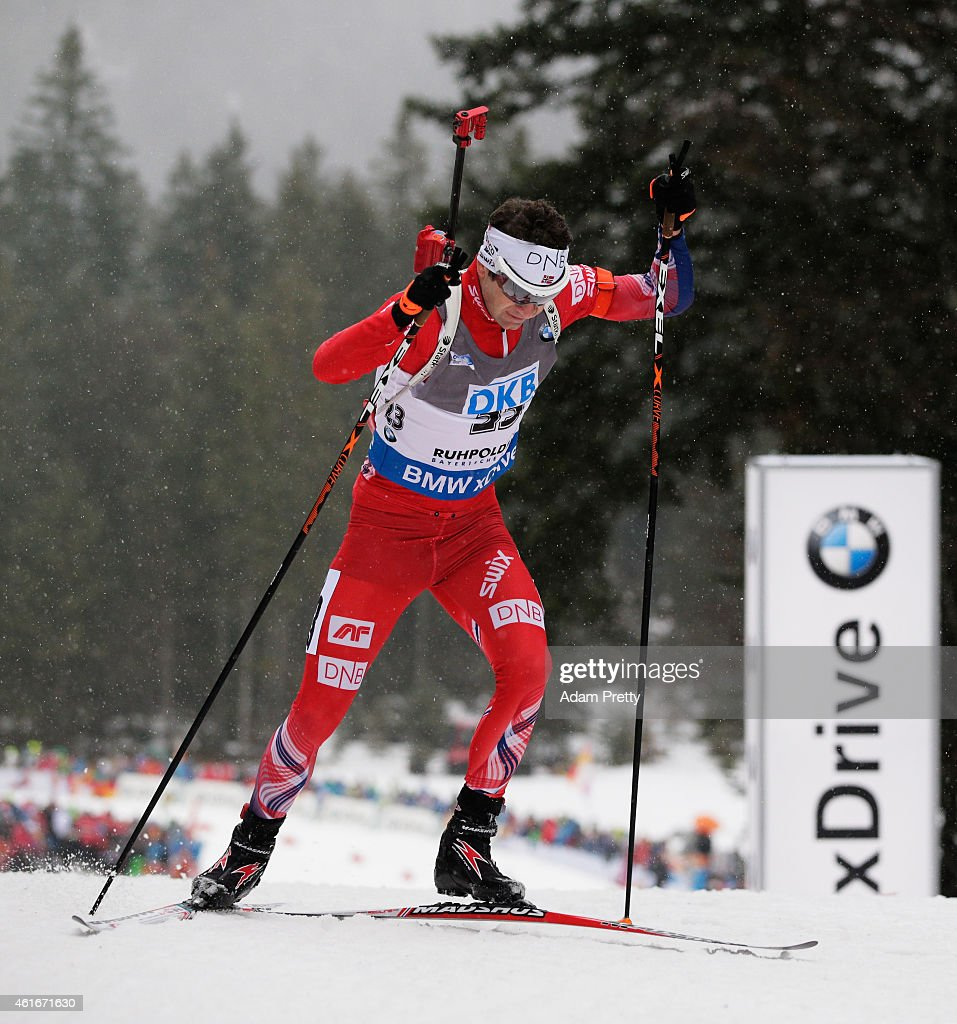 <a gi-track='captionPersonalityLinkClicked' href=/galleries/search?phrase=Ole+Einar+Bjoerndalen&family=editorial&specificpeople=206663 ng-click='$event.stopPropagation()'>Ole Einar Bjoerndalen</a> of Norway in action during the IBU Biathlon World Cup Men's Sprint on January 17, 2015 in Ruhpolding, Germany.