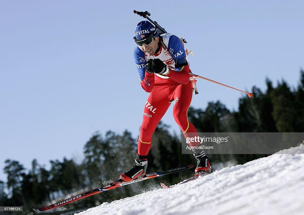 Ole Einar Bjoerndalen of Norway in action during the IBU Biathlon World Cup Men's 10km Sprint on March 23, 2006 in Holmenkollen, Norway.