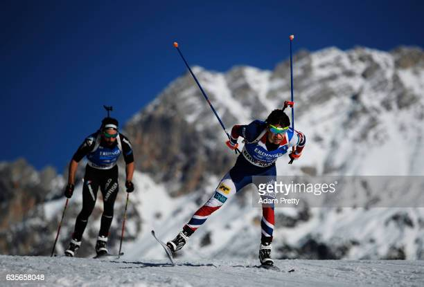 Ole Einar Bjoerndalen of Norway in action during the Men's 20km Individual competition of the IBU World Championships Biathlon 2017 at the Biathlon...