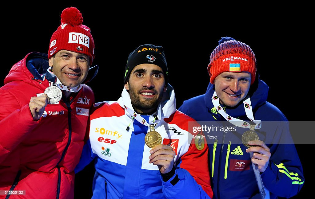 <a gi-track='captionPersonalityLinkClicked' href=/galleries/search?phrase=Ole+Einar+Bjoerndalen&family=editorial&specificpeople=206663 ng-click='$event.stopPropagation()'>Ole Einar Bjoerndalen</a> (silver) of Norway, <a gi-track='captionPersonalityLinkClicked' href=/galleries/search?phrase=Martin+Fourcade&family=editorial&specificpeople=5656850 ng-click='$event.stopPropagation()'>Martin Fourcade</a> of France (gold) and Sergey Semenov (bronze) of Ukraine celebrate their medal in the men's 10km sprint during day three of the IBU Biathlon World Championships at Medal Plaza on March 5, 2016 in Oslo, Norway.