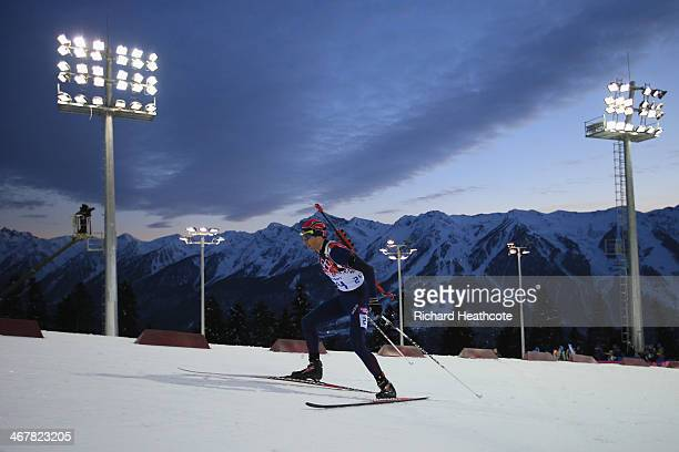 Ole Einar Bjoerndalen of Noway competes in the Men's Sprint 10 km during day one of the Sochi 2014 Winter Olympics at Laura Crosscountry Ski Biathlon...