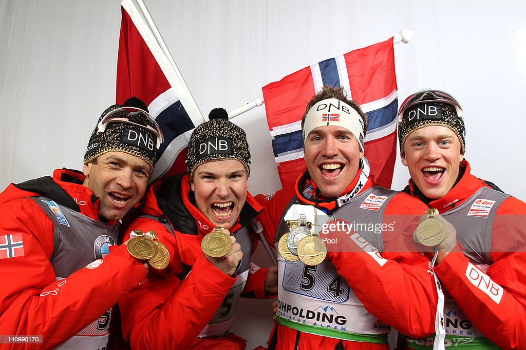 <a gi-track='captionPersonalityLinkClicked' href=/galleries/search?phrase=Ole+Einar+Bjoerndalen&family=editorial&specificpeople=206663 ng-click='$event.stopPropagation()'>Ole Einar Bjoerndalen</a>, Rune Brattsveen, <a gi-track='captionPersonalityLinkClicked' href=/galleries/search?phrase=Tarjei+Boe&family=editorial&specificpeople=6614833 ng-click='$event.stopPropagation()'>Tarjei Boe</a> and <a gi-track='captionPersonalityLinkClicked' href=/galleries/search?phrase=Emil+Hegle+Svendsen&family=editorial&specificpeople=831528 ng-click='$event.stopPropagation()'>Emil Hegle Svendsen</a> of Norway show their gold medal for the Men's 4 x 7.5km Relay during the IBU Biathlon World Championships at Chiemgau Arena on March 9, 2012 in Ruhpolding, Germany.