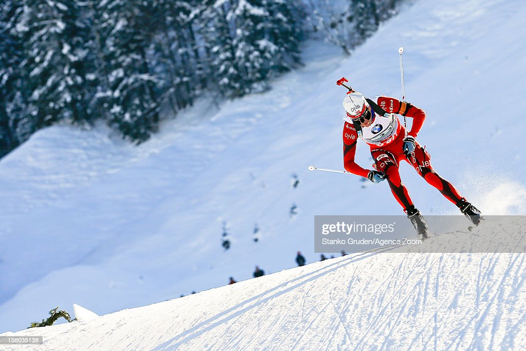 , Ole Einar Bjoerndalen takes 1st place during the IBU Biathlon World Cup Men's Relay on December 09, 2012 in Hochfilzen, Austria.