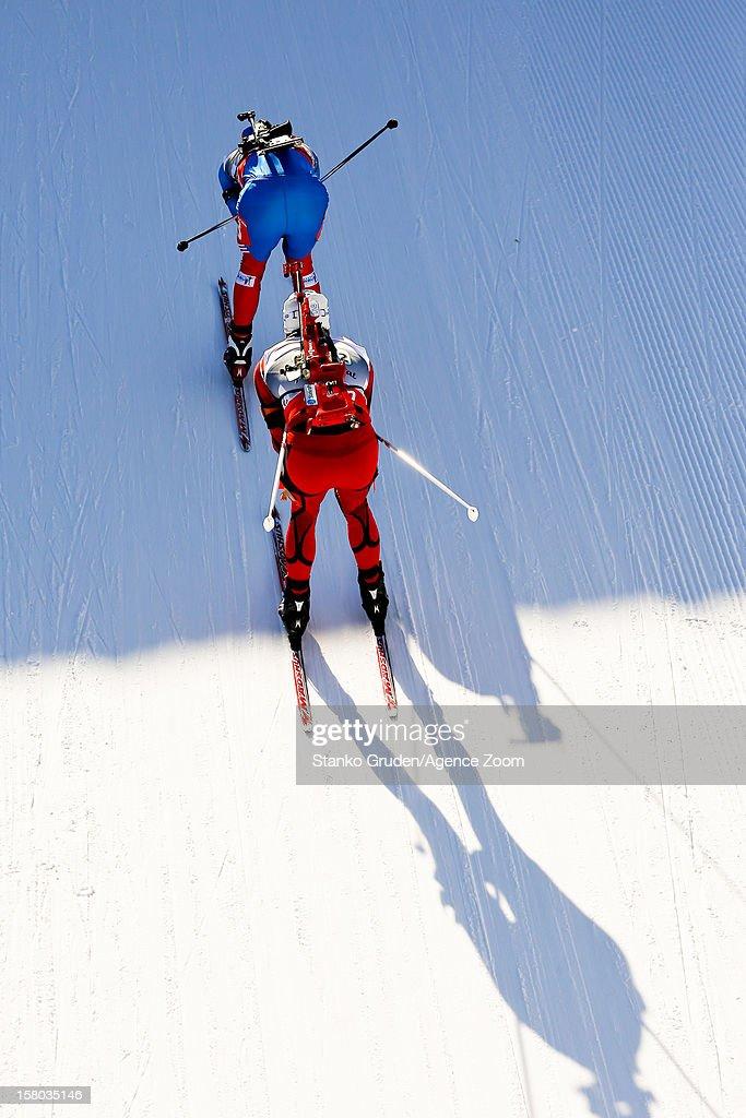 , Ole Einar Bjoerndalen takes 1st place during the IBU Biathlon World Cup Men's Relay on December 09, 2012 in Hochfilzen, Austria.
