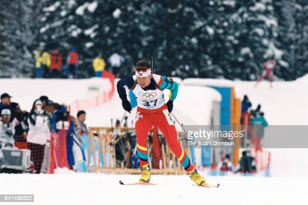 Ole Einar Bjorndalen of Norway competes in the Biathlon Men's 10km Sprint during day eleven of the Nagano Winter Olympic Games at Nozawa Onsen Ski...