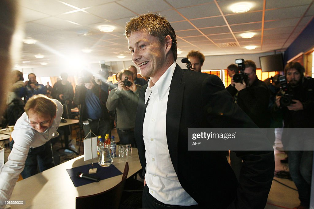 Ole Gunnar Solskjaer arrives for a press conference in Molde on November 9 2010 where he was presented as the new manager of Molde FK football club...