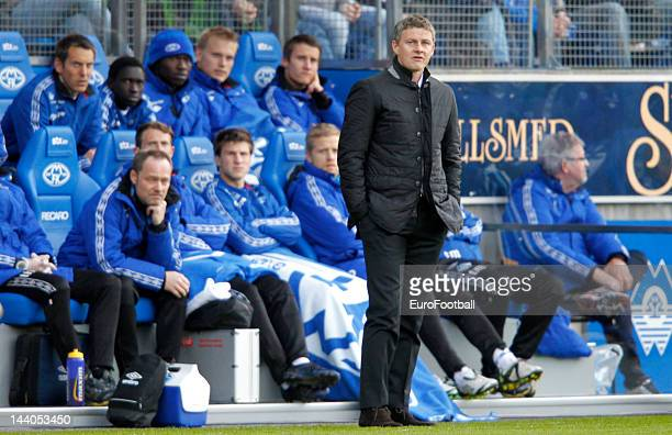 Ole Gunnar Solskjaer manager of Molde FK looks on during the Norwegian Tippeligaen match between Molde FK and Aalesunds FK held on May 6 2012 at the...