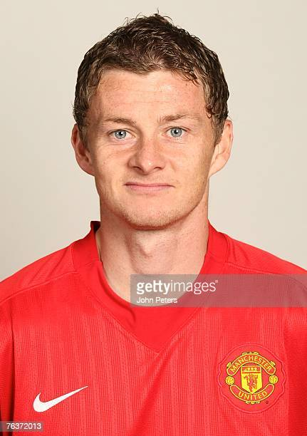 Ole Gunnar Solskjaer of Manchester United poses during the club's annual preseason photocall at Carrington Training Ground on August 17 2007 in...