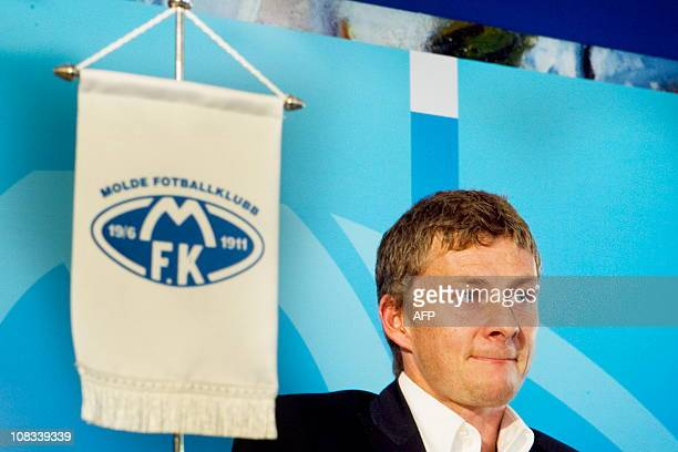 Ole Gunnar Solskjaer takes part in a press conference in Molde on November 9 2010 where he was presented as new manager for Norwegian football club...