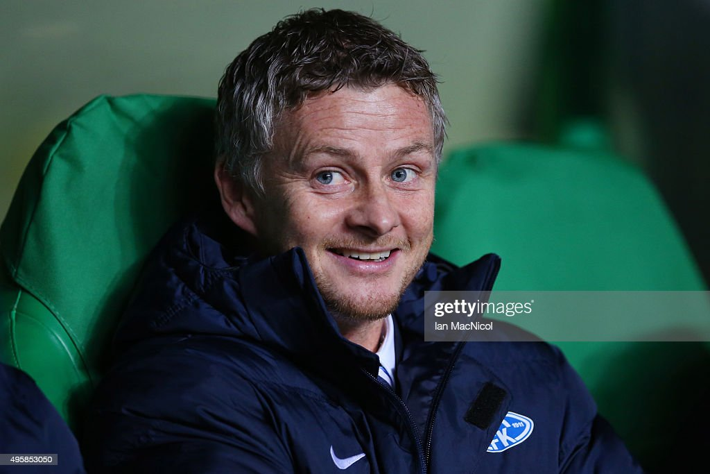 Ole Gunnar Solskjaer the head coach of Molde looks on during the UEFA Europa League Group A match between Celtic FC and Molde FK at Celtic Park on...