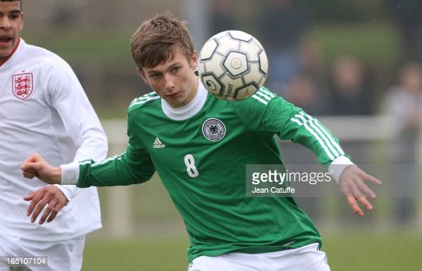 Ole Kauper of Germany in action during the Tournament of Montaigu qualifier match between U16 Germany and U16 England at the Stade Saint Andre...