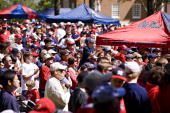 Ole Miss fans in the Grove on the campus of the University of Mississippi on April 12 2008 in Oxford Mississippi