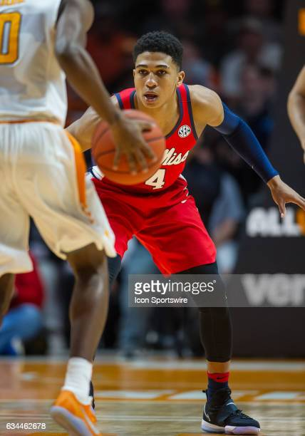 Ole Miss Rebels guard Breein Tyree guarding Tennessee Volunteers guard Jordan Bone during a game between the Ole Miss Rebels and Tennessee Volunteers...