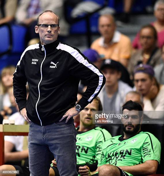 Ole Norgaard head coach of Skjern Handbold looks on during the Danish Men's Handball Liga match between Aalborg Handbold and Skjern Handbold at...