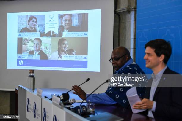 Ole von Uexkull Executive Director of the Right Livelihood Award Foundation and jury member Maina Kiai annonce the laureates of the Right Livelihood...
