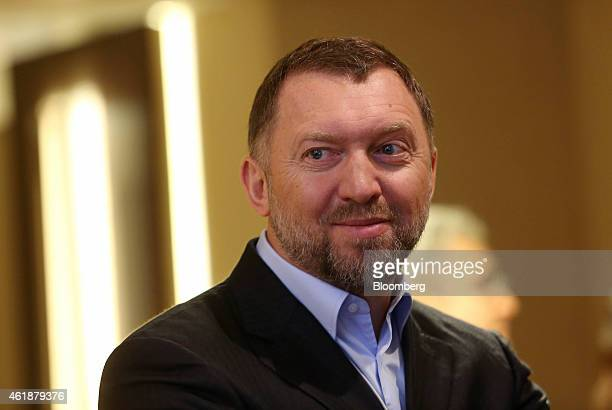 Oleg Deripaska billionaire and chief executive officer of United Co Rusal pauses during a break in sessions on the opening day of the World Economic...