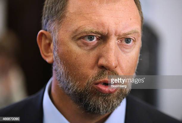 Oleg Deripaska billionaire and chief executive officer of United Co Rusal speaks during a meeting of the Russian Union of Industrialists and...