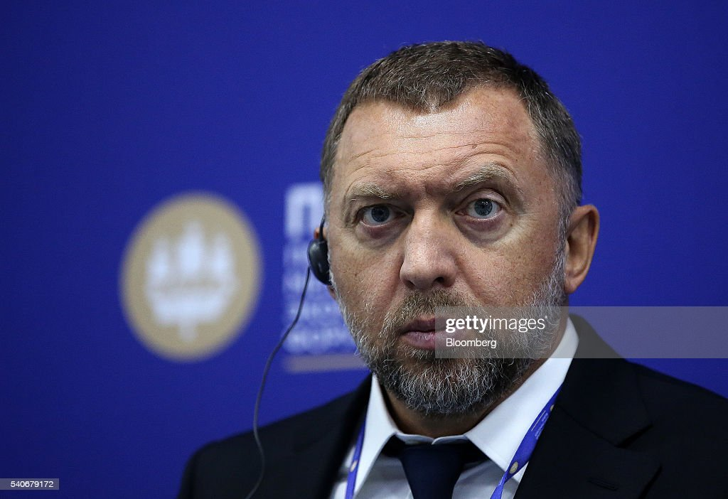 Oleg Deripaska billionaire and president of United Co Rusal looks on during a panel session on the opening day of the St Petersburg International...
