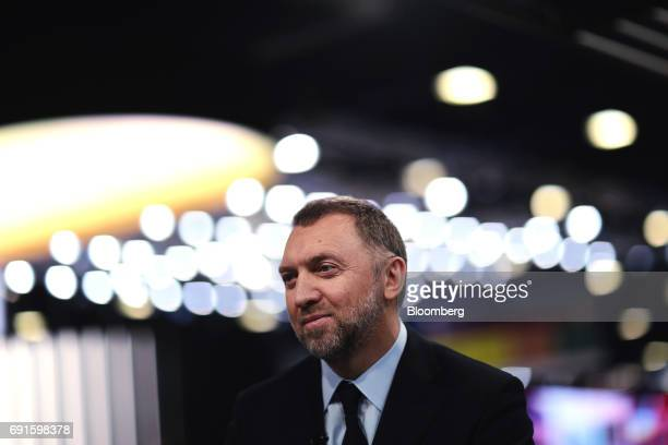 Oleg Deripaska billionaire and president of United Co Rusal pauses in a Bloomberg Television interview during the St Petersburg International...