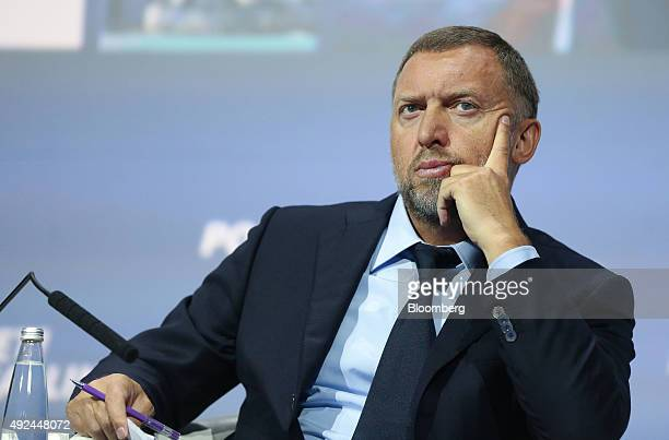 Oleg Deripaska billionaire and president of United Co Rusal pauses while attending a panel session on the opening day of the VTB Capital Investment...