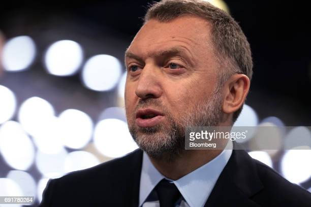 Oleg Deripaska billionaire and president of United Co Rusal Plc speaks in a Bloomberg Television interview during the St Petersburg International...