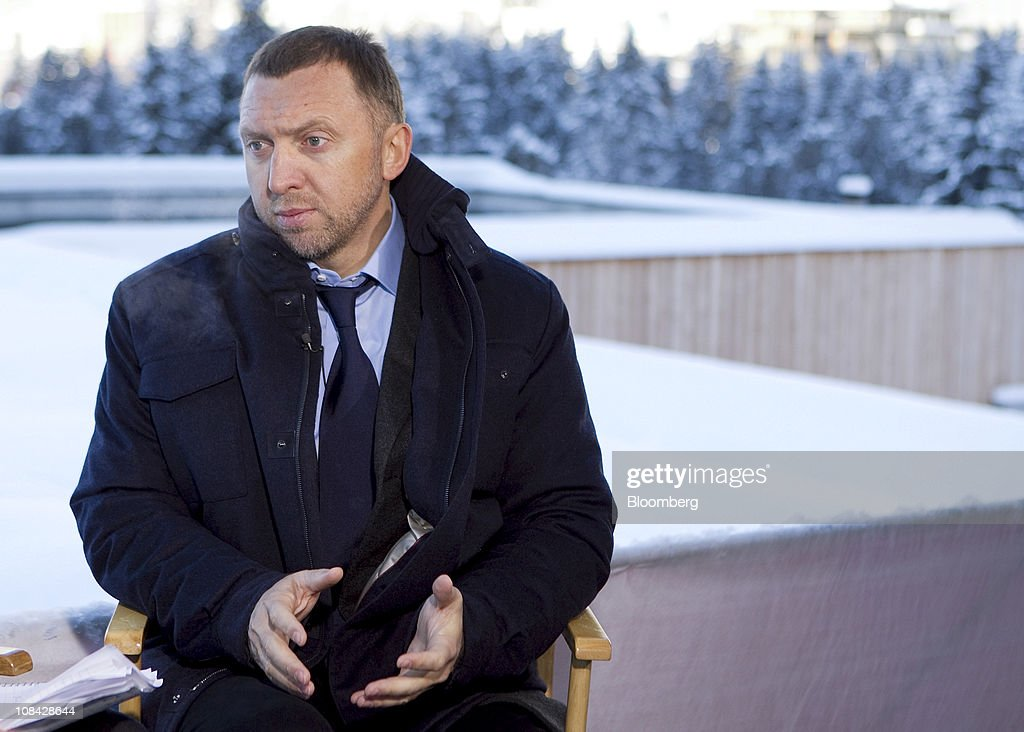Oleg Deripaska chief executive officer of Basic Element speaks during a Bloomberg Television interview on the second day of the World Economic Forum...