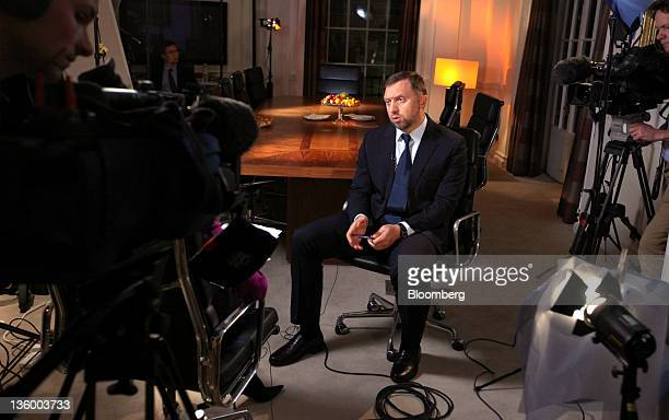Oleg Deripaska chief executive officer of United Co Rusal center speaks during a television interview at his office in London UK on Thursday Dec 15...