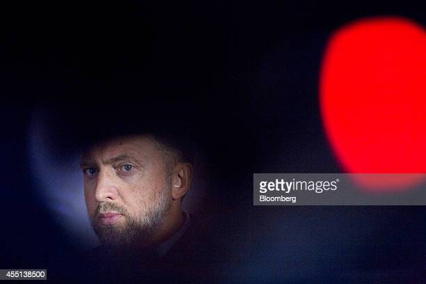 Oleg Deripaska chief executive officer of United Co Rusal is seen through a camera during a Bloomberg Television interview at the World Economic...