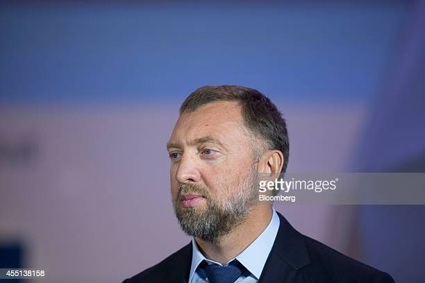 Oleg Deripaska chief executive officer of United Co Rusal listens during a Bloomberg Television interview at the World Economic Forum Annual Meeting...