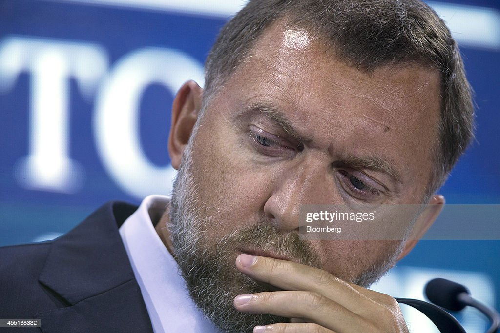 Oleg Deripaska chief executive officer of United Co Rusal listens during a session at the World Economic Forum Annual Meeting of the New Champions in...