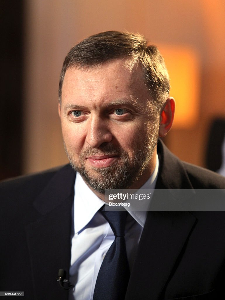 Oleg Deripaska chief executive officer of United Co Rusal pauses during a television interview at his office in London UK on Thursday Dec 15 2011...
