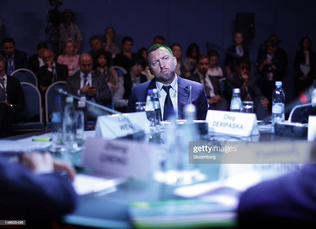 Oleg Deripaska chief executive officer of United Co Rusal pauses during a conference session on day one of the Saint Petersburg International...