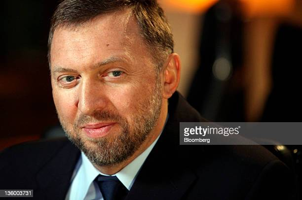 Oleg Deripaska chief executive officer of United Co Rusal reacts during a television interview at his office in London UK on Thursday Dec 15 2011...
