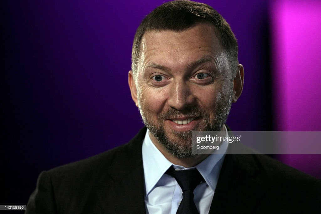 Oleg Deripaska chief executive officer of United Co Rusal reacts during a Bloomberg Television interview in London UK on Friday April 20 2012 OAO...